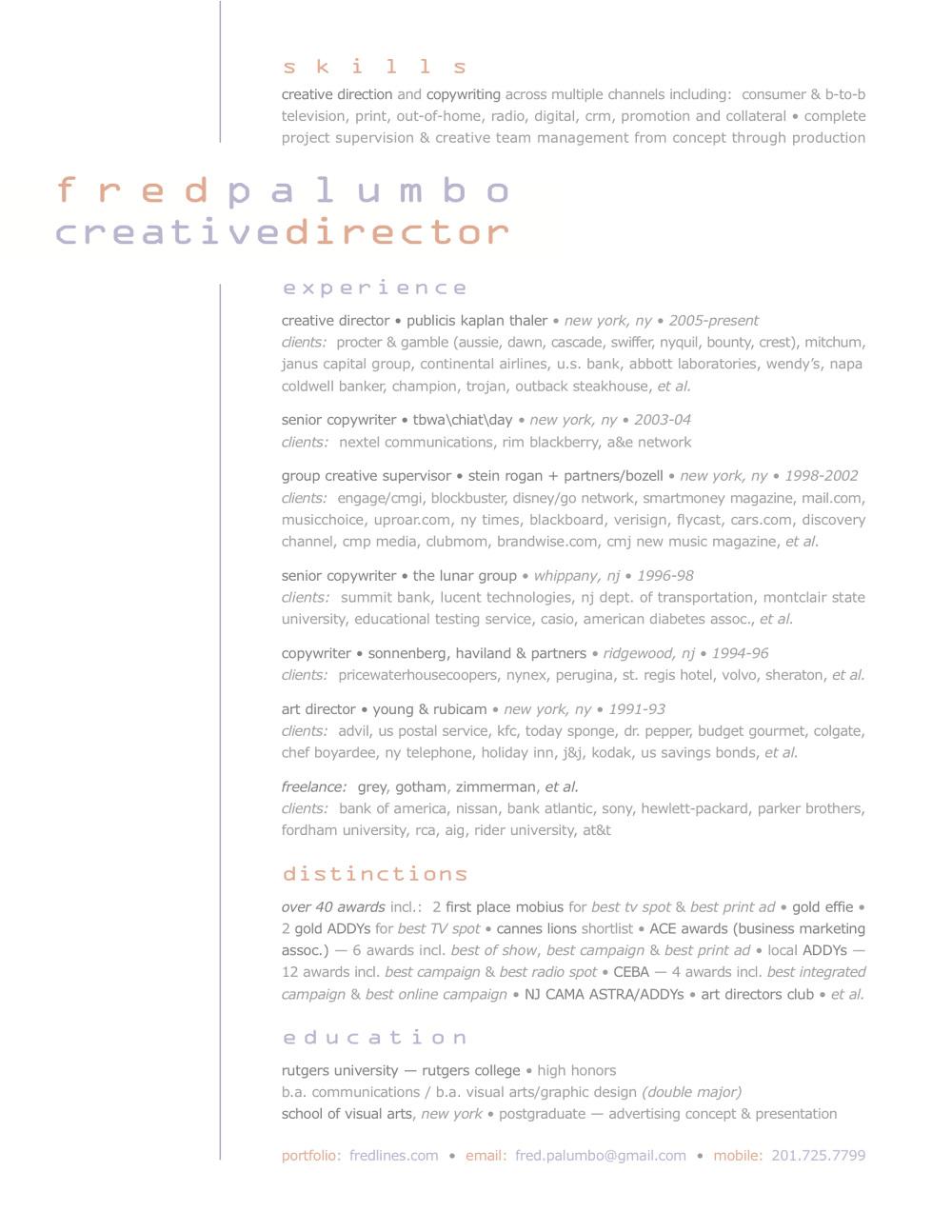 Resume Fred Palumbo Creative Director Copywriter